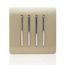 Trendi 4 Gang 1 Way Artistic Modern Glossy 10 Amp Rocker Tactile Light Switch Champagne Gold